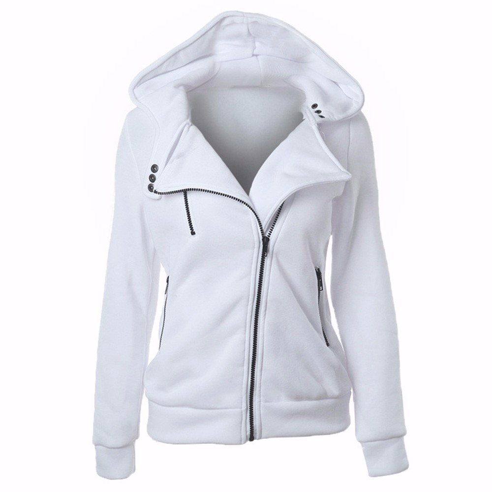 2018 Winter Jacket Women Hoodies Casual Solid Long Sleeve Zipper Thicken Sweatshirts Top