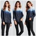 ZANZEA 2017 Fashion Women Blouses Long Sleeve Sexy V Neck Blouse Ladies Loose Gradient Color Shirt Button Tops Plus Size S-3XL