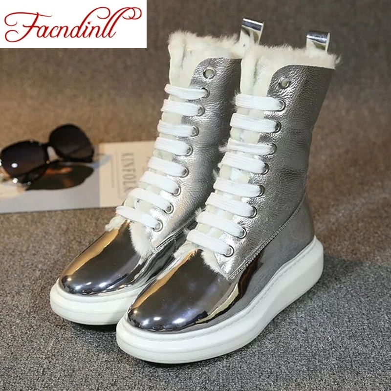 FACNDINLL woman winter snow boots new fashion autumn winter silver platform lace up round toe women warm casual ankle boots front lace up casual ankle boots autumn vintage brown new booties flat genuine leather suede shoes round toe fall female fashion