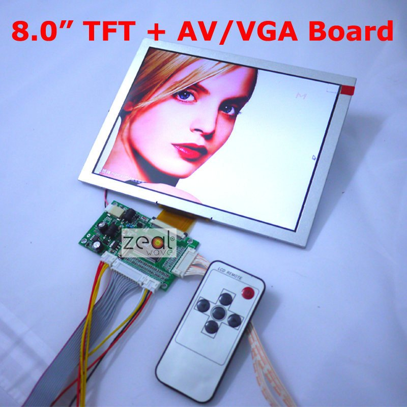 """Новинка """" 8 дюймов AT080TN52 TFT lcd модуль+ VGA/Dual AV 2AV вход плата вождения 800x600 точек 50 контактов"""