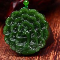 Fine Carving Two Sides Green Natural Stone Pendant Peacock Opens Screen Pendant Sweater Chain Necklace For Men Women Jewelry