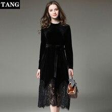 Dress Women Long Sleeve Black autumn Winter Vetement Femme 2019 Vestidos Mujer velvet Shirt Lace