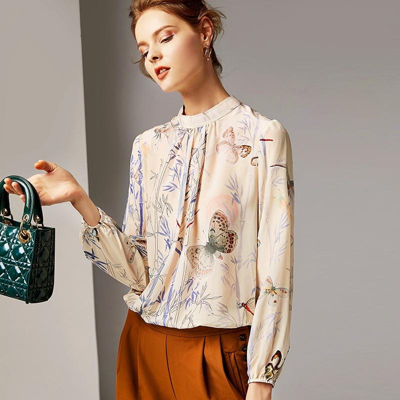 100% Soie Blouse Femmes Shirt Imprimé Taille Élastique Conception Stand Cou À Manches Longues Élégant Style Bureau Top Nouvelle Mode 2019
