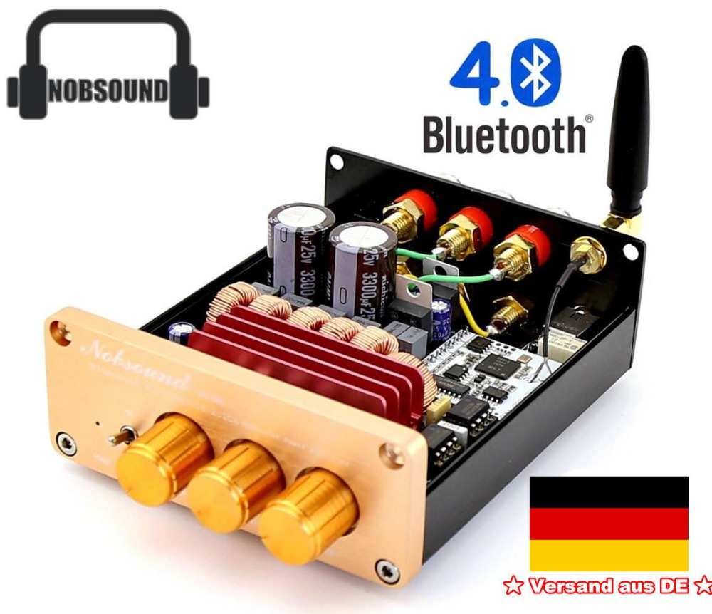 где купить Nobsound Bluetooth 4.0 Digital Amplifier TPA3116 2.1 Channel BASS HiFi Power Amplifier With EU Power Supply по лучшей цене