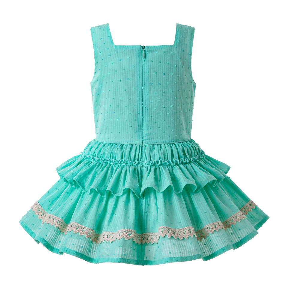 Pettigirl Mint Green Girl Dress Lace Strape Dress Summer with Cute Bow and Layers Children Wear G DMGD203 36-in Dresses from Mother & Kids    2