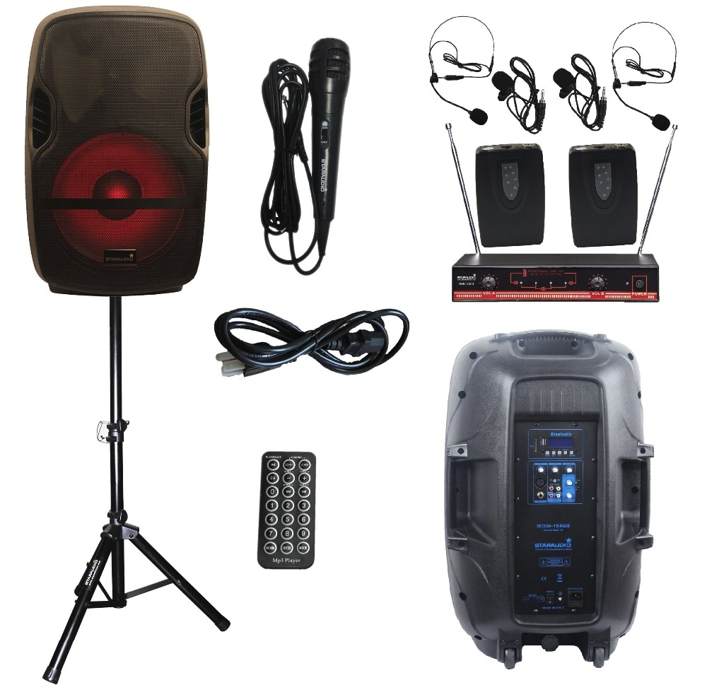 STARAUDIO Pro 2000W 15 PA DJ Stage Powered Active USB SD BT Speaker W/ LED light Stand Headset Mic SCSM-15RGB