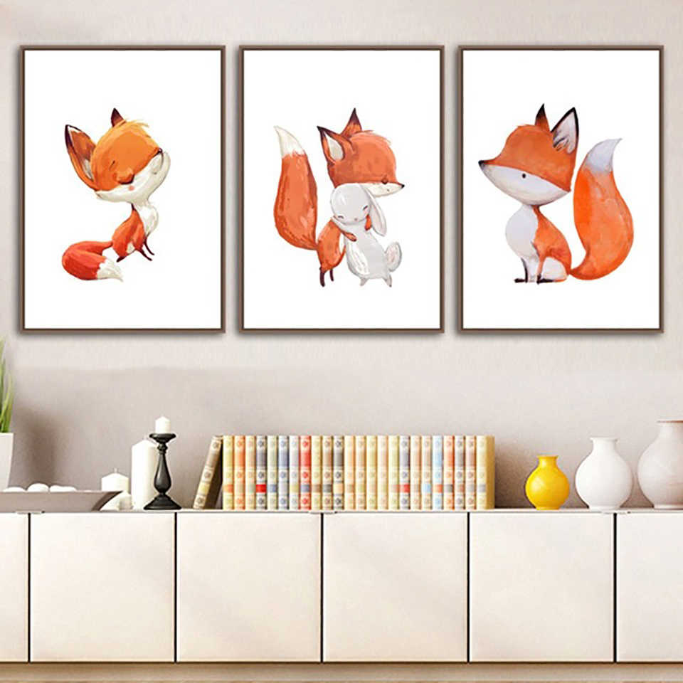 Canvas Painting Nordic Style Prints Home Decor Cartoon Fox Wall Art Modular Pictures Watercolor Hot Sale Poster For Kids Room