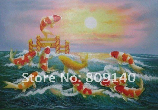 Feng Shui Art For Office Throughout Oil Painting Canvas Decorative Fish Koi Jumping Sunrise Feng Shui Art Hand Painted Home Office Hotel