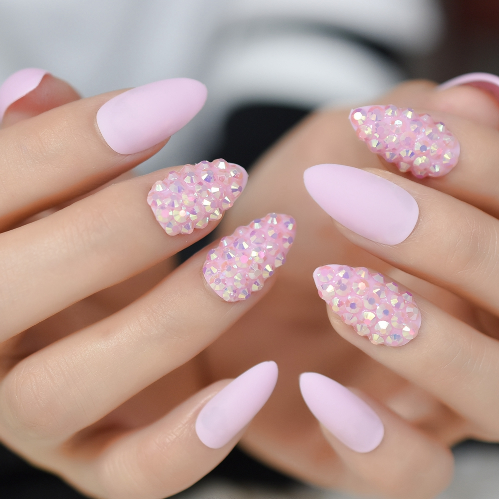 15901e35871a False Nails Cheap False Nails Jelly Pink Glitter Stiletto False Nail.We  offer the best wholesale price