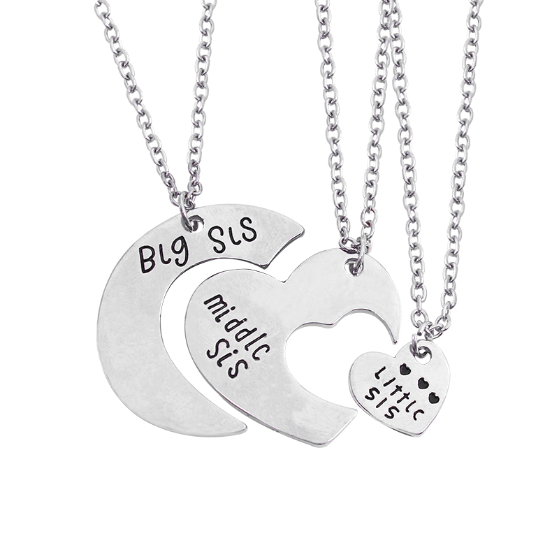 3pcs/set Splice Silver Broken Heart Love Sister Pendants Necklaces Matching Little Middle Big Sis Jewelry For Family Gift