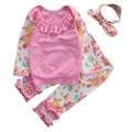 3pcs Newborn Infant Baby Girl Clothes Cute Flower Pink Top Shirt Pant Headwear Outfit Kids Clothing Set Pink