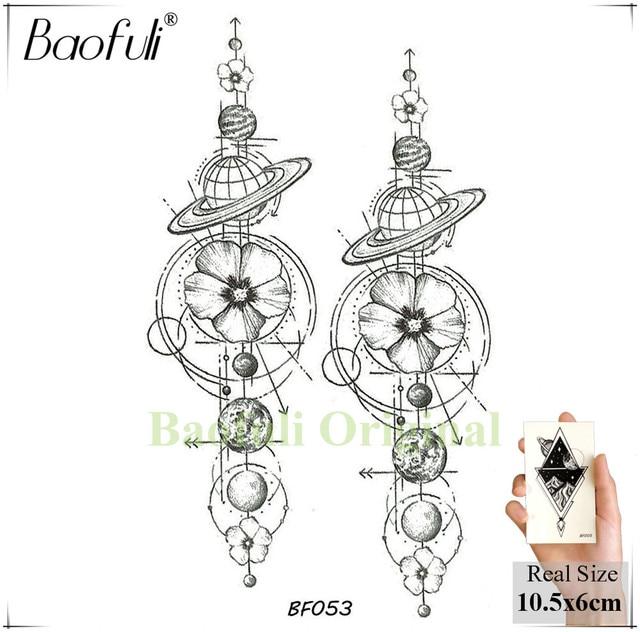 Baofuli Waterproof Temporary Sticker Geometric Planet Jellyfish Tattoo Black Triangle Tattoos Body Arm Men Fake Tatoos Chains 2