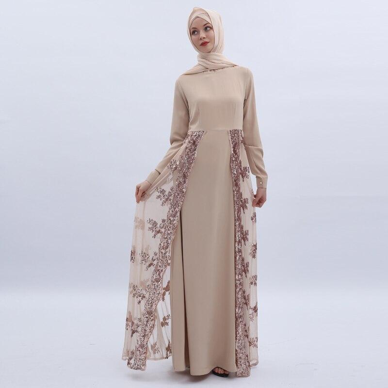 Sequin Abaya Kaftan Dubai Arabic Muslim Hijab Dress Women Caftan Robe Femme Musulmane Longue Vestidos Eid Turkish Dresses Elbise