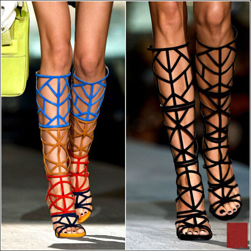 8ef272b2a178 Zobairou Sexy Suede Multi Colors Cut Outs Cage Boots For Women Female Stiletto  High Heels Tall