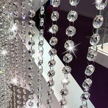 1 м гирлянда Висячие Хрустальные стеклянные бусины занавес цепи, украшенные бриллиантами вечерние дерево центральный элемент DIY вечерние Декор