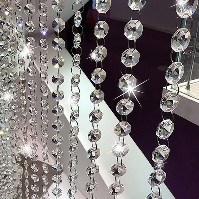 1m Garland Strand Hanging Crystal Glass Bead Curtain Diamond Chains Party Tree Centerpiece DIY Party Decor Decor