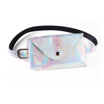 SFG HOUSE women waist bag holographic fanny pack female waist packs stone pattern waist purse mini  phone pouch laser belt bag holographic belt purse