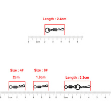 Hyaena 200pcs Carp Fishing Quick Change Swivel Set Matte Black Long Body Rolling Swivels Snap Carp Fishing Accessories Tackle