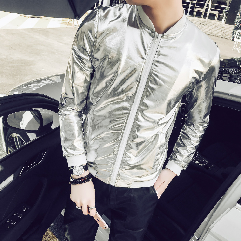 99a6adf31cc77 Detail Feedback Questions about Luxury Shining Silver Jacket Men Summer Slim  Fit Thin Mens Jackets and Coats Plus Size Stand Collar Sun Protection  Clothing ...