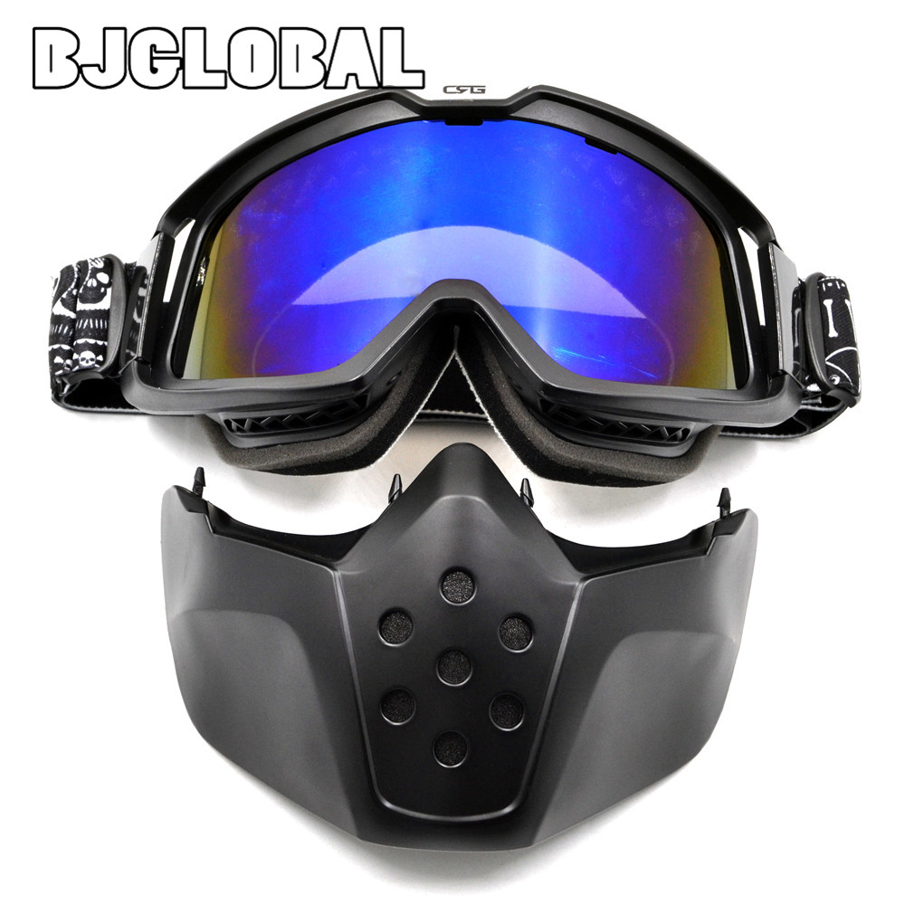 BJGLOBAL Modular Mask Flexible Goggles Glasses Mouth Filter Anti Dust Sand Wind for Open Face Motorcycle Half Helmet