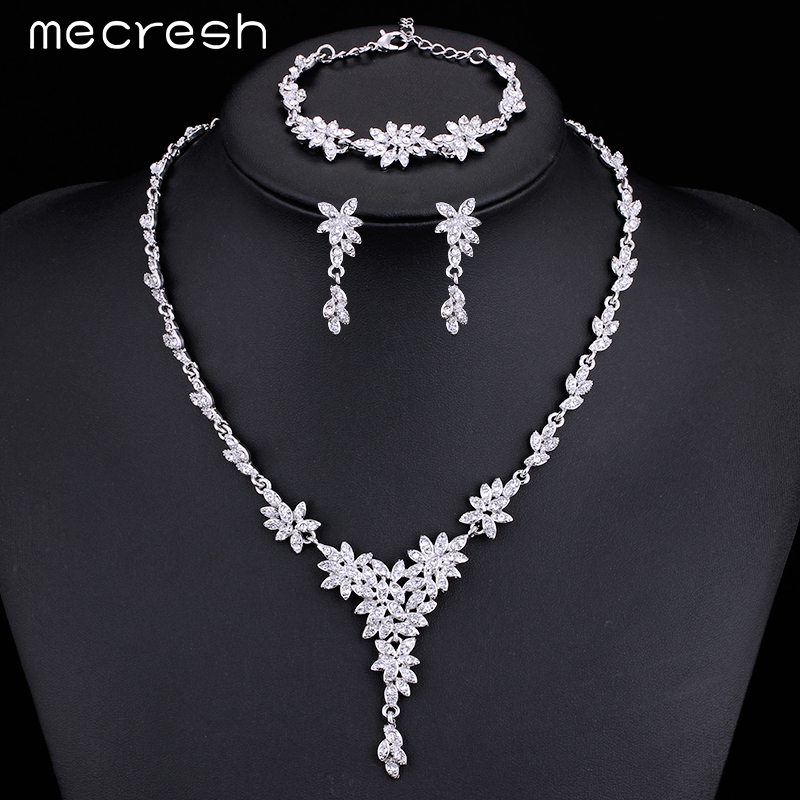 Mecresh Leaf Crystal Brides Jewelry Setss