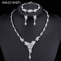 M MJewelry Leaf Crystal Brides Jewelry Sets Silver Plated Necklace Earrings Bracelets Wedding Jewelry For Women