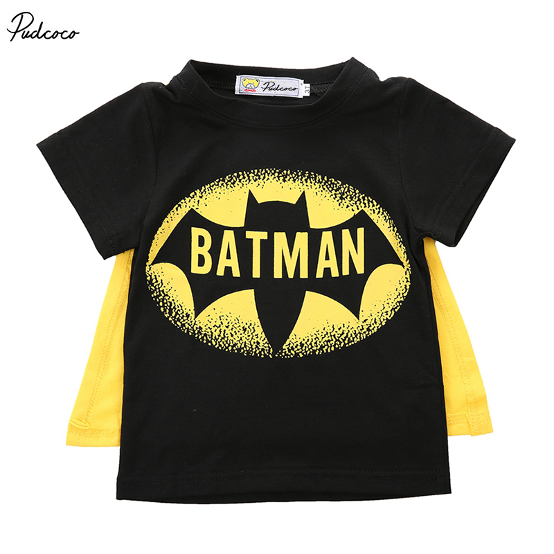 2017 Brand Pudcoco Baby Boys T Shirt Superman Batman T Shirt Kids 3D Cartoon Short Sleeves Children T-Shirt Nova Boys Clothes round neck starry sky grass print short sleeves 3d t shirt for men