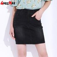 Plus Size Denim Skirts Women Elastic Black Pencil Skirt High Waist Falda Vaquera Saia Lapis Office