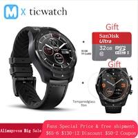 Tüketici Elektroniği'ten Akıllı Saatler'de Ticwatch Pro Bluetooth akıllı saat IP68 Katmanlı Ekran desteği NFC Ödeme/Google Asistan Aşınma OS Google 415 mAH adam izle