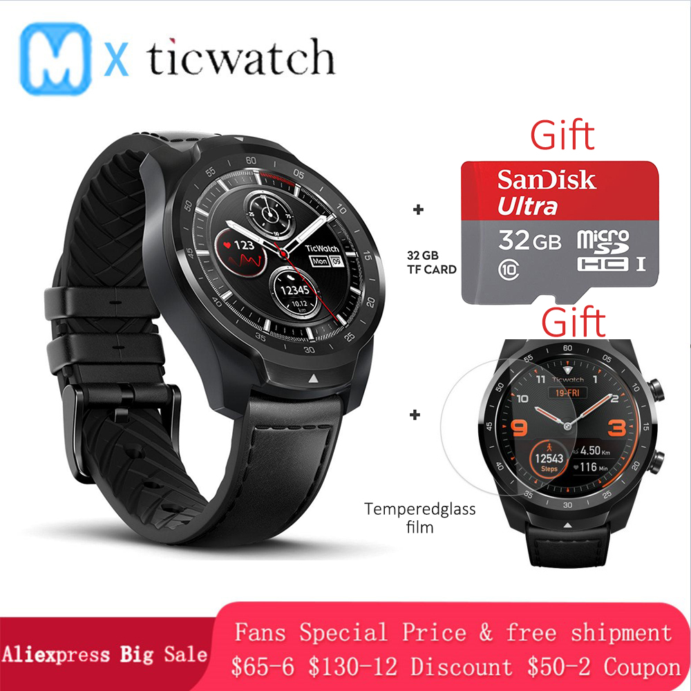 Ticwatch Pro Bluetooth montre intelligente IP68 affichage en couches support NFC paiements/Google Assistant porter OS par Google 415 mAH homme montre