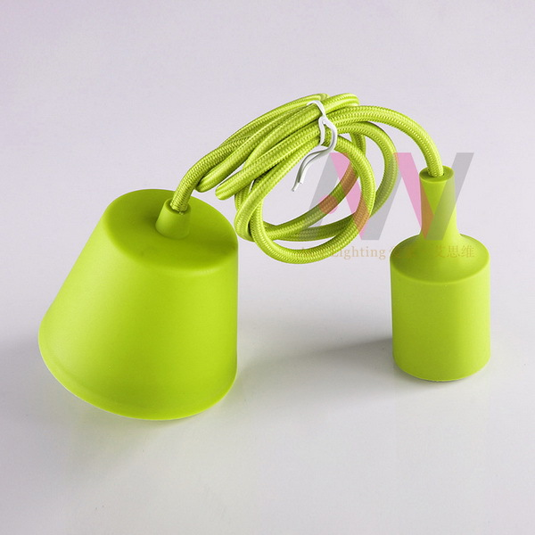 Colorful Ceiling light cord set with E27 silicon lamp socket with 2 meters textile cord