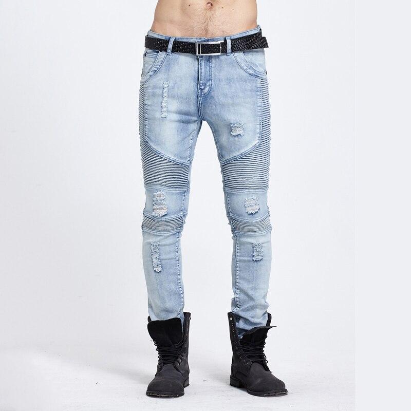 ФОТО Jeans Men Winter Ripped Distressed Man Biker Jeans Stretch Denim Patchwork Pencils Slim Skinny Fashion Designer Oversized Pants