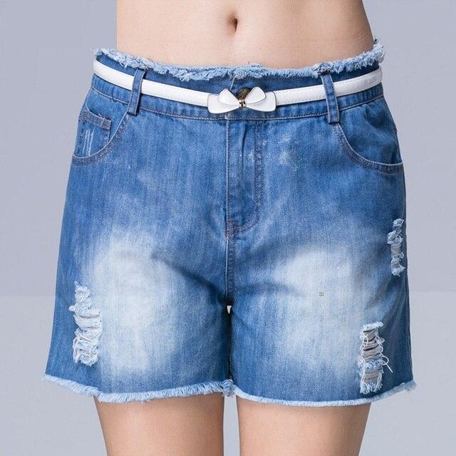Large Size Shorts Women 2016 New Summer Fashion Shorts Women Washed High Waist Denim Short Femme Female Cotton Pantalon Femme
