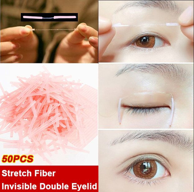 50pcs Newest Super Invisible Double Eyelid Sticker Stretch Fiber Eyelid Fold Lift Adhesive Strips Double Sided Eyelid Tape