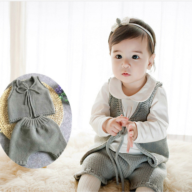 2017 New Infant Baby Boys Girls Sets Solid Vest Tops+Harem Pants 2pcs Outfits Toddlers Suits Baby Clothes 6-12M Knitted Baby Set