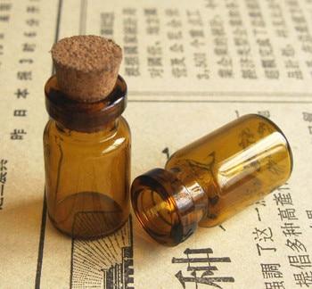 1000x1 ml Mini botella de vidrio ámbar frasco de vidrio marrón deseando botella tapón de corcho Vial de vidrio Simple muestra de ámbar contenedor de almacenamiento de