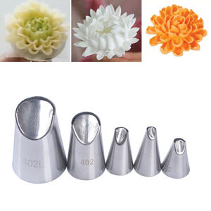 Image 1 - 5Pcs/Set Stainless Steel DIY Piping Chrysanthemum Tips Mold Nozzle Cake Pastry Cream Cookie Nozzle Mould Cake Decorating Tools