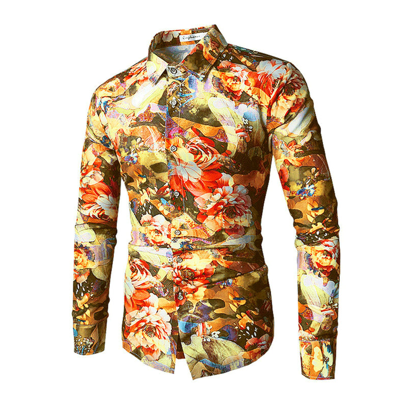 New Fashion Casual Men Shirt Long Sleeve Europe Style Slim Fit Shirt Men High Quality Cotton Floral Shirts Mens Clothes ...