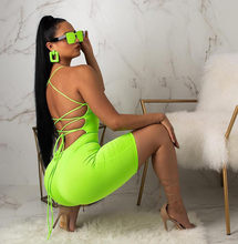 Sexy Rompertjes Womens Jumpsuit Neon Groene Club Bodycon Bandage Jumpsuit Korte Lace Up Backless Bodysuit Dames Zomer Playsuit(China)