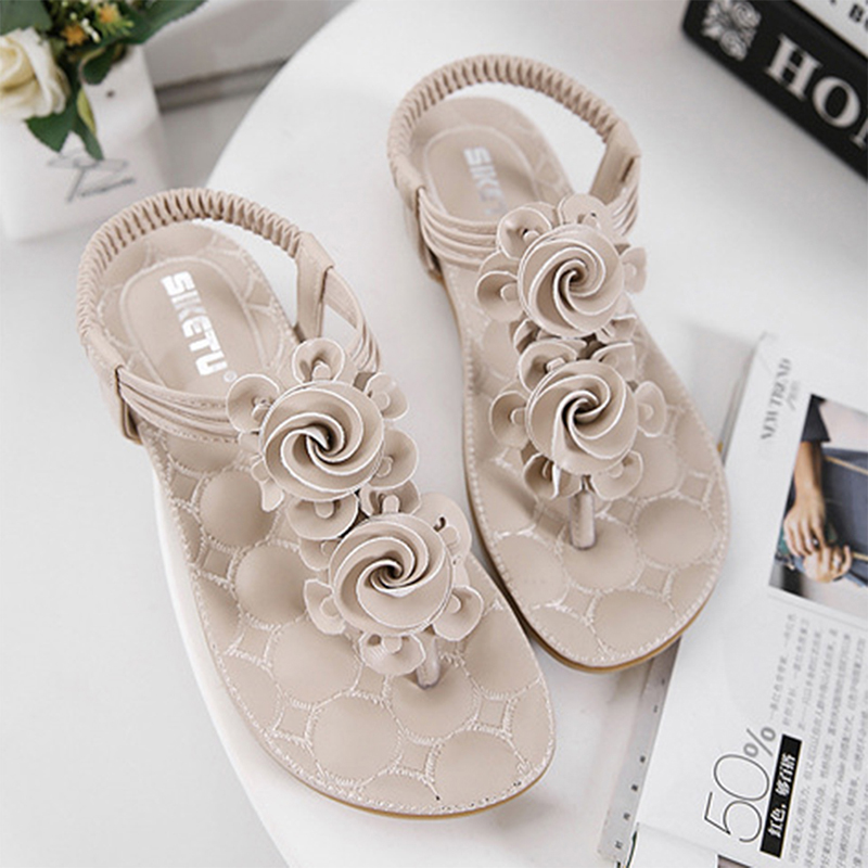 Detail Feedback Questions about 2018 Women Sandals Bohemian Flowers Flats Shoes  Woman Slip On Back Strap Slippers Flip Flops Women Shoes Soft Leather ... 4384d9c25234