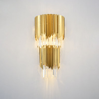Postmodern Luxury Gold Crystal Wall Lamp for Living Room Bedroom Bedside Lamp Wall Sconce Lighting Fixtures Home Decor Art