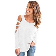 Женщины Блузка Рубашка Новая Коллекция Весна Осенняя Мода С Плеча Твердые Blusas С Длинным Рукавом Выдалбливают Топы Плюс Размер LJ7475C