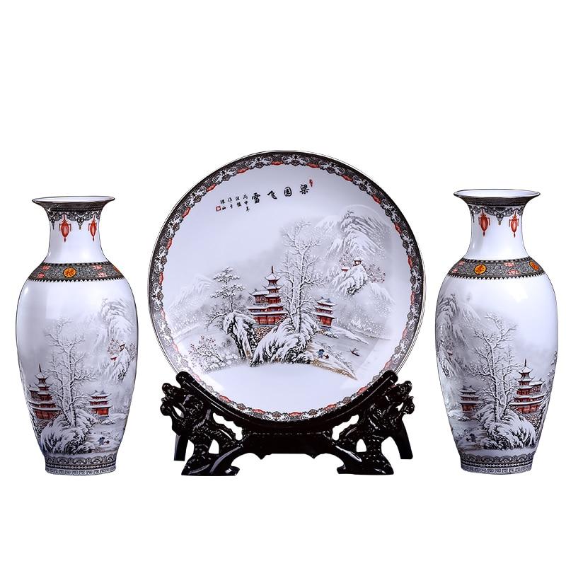 New Arrival Antique Jingdezhen Ceramic Vase Platet Set Classical Chinese Traditional Snow Eggshell Vase Flower Porcelain