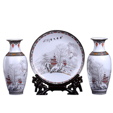 New Arrival Antique Jingdezhen Ceramic Vase Platet Set Classical Chinese Traditional Snow Eggshell Vase Flower Porcelain Vase
