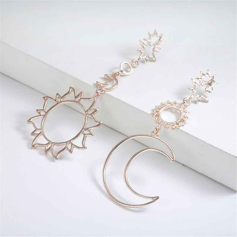 Hollow Star and Moon Drop Dangle Earrings Women Gift Statement Fashion Jewelry