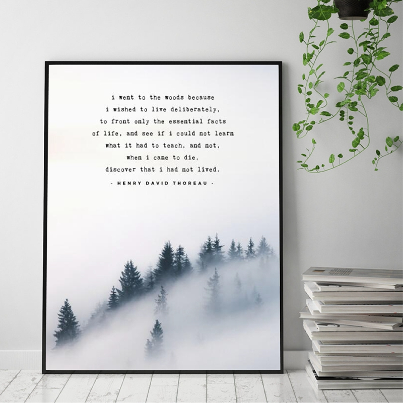 Nordic Poster Forest Mountain Landscape Art Canvas Painting Henry David Thoreau Poem Wall Pictures For Living Room Home Decor image