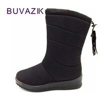 2017 Women Mid Calf Down Snow Boots Female Waterproof Ladies Warm Winter Shoes Short Plush Insole
