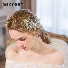 Mecresh Cristal de lujo accesorios para el pelo de la boda para las mujeres  plata Color hoja Rhinestone nupcial pelo Barrettes j. 6bed60d55e4f