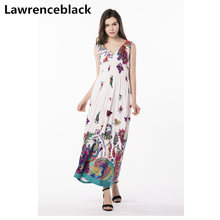 Lawrenceblack women maxi dress Plus Size Printed Robe summer Sleeveless long Vestido Boho sexy Dresses fashion lady's dress W27(China)