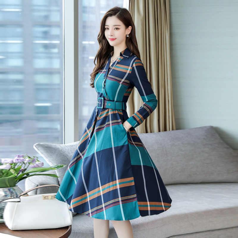 Moda Kadın Elbise Uzun Kollu Ofis çizgili elbise Kadın Ekose Gömlek elbise kemeri Bahar yaz giysileri Yeni Artı Boyutu Bayan Elbise